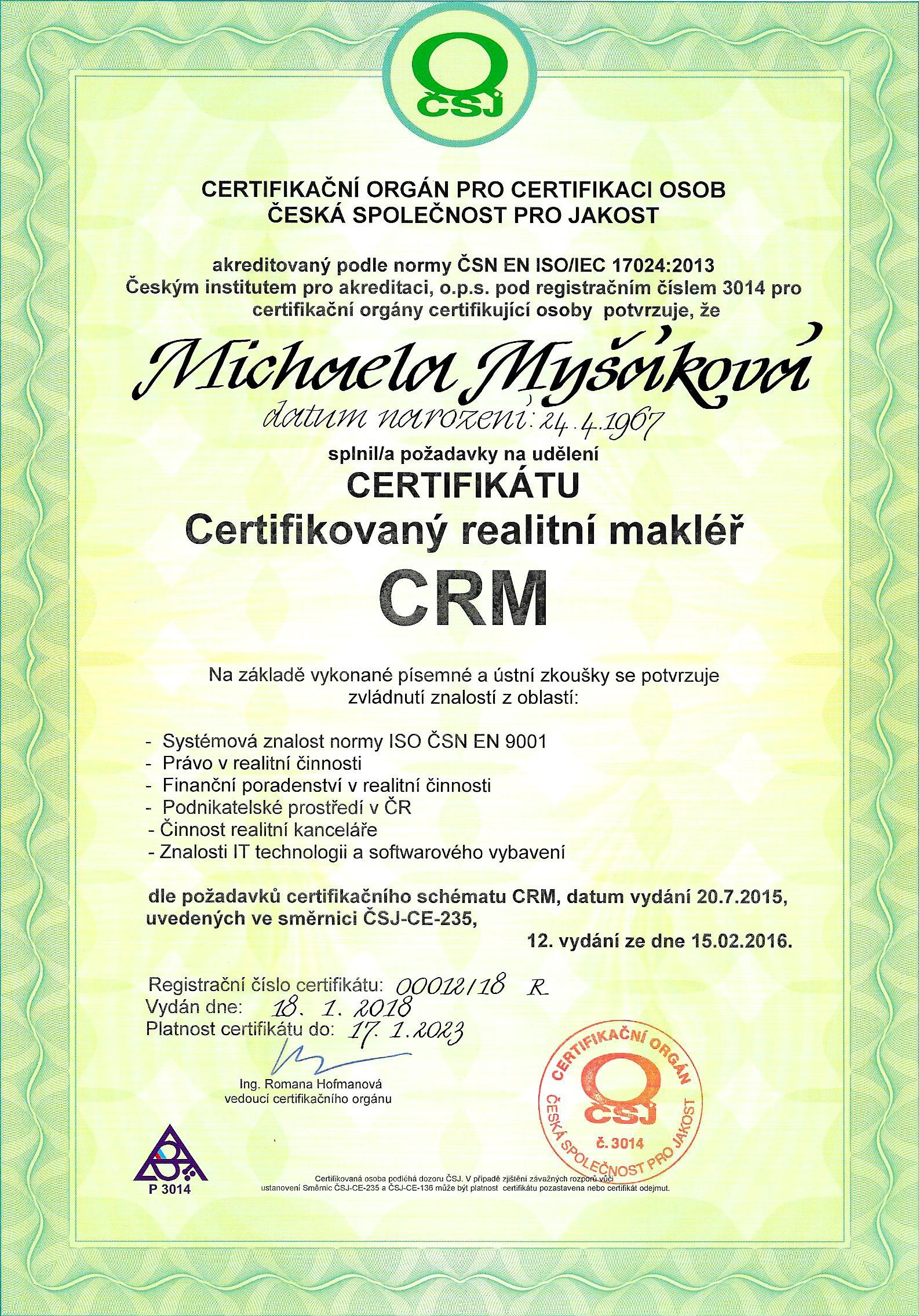 ISO Certifikát 2018